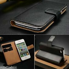 Real Leather Executive Wallet Flip Case Cover Card Pouch for Apple iPhone 4 4S
