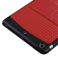 For APPLE iPad Mini Natural Red/Solid Black w/ Stand Gummy Cover Protector Case