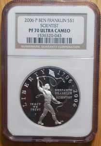 :2006-P S1$ Ben Franklin Scientist Commemorative NGC PF 70 ULTRA CAMEO Top Pop