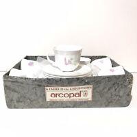 Vintage Arcopal France Set of 6 Tea Coffee Cups Tasses & Saucers Sous-Tasses