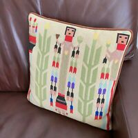 "Vintage Native Southwest Gardener 14"" Needlepoint Throw Pillow  1970s"