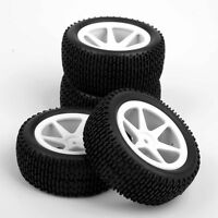 4pcs Front & Rear Tyre Rubber Tires & Wheels Rims For 1/10 Off-Road RC Buggy Car