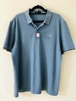 Fred Perry Light Blue White Polo Tshirt Cotton Size XL A1422