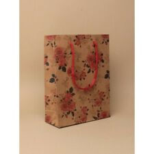 NEW 12 Brown paper pink roses printed wedding gift bags valentines 20x14x7cm