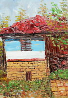 ANTIQUE IMPRESSIONIST OIL PAINTING HOUSE LANDSCAPE SIGNED