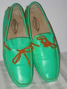 TOD'S CBD GOMMINO SEAFOAM GREEN WOMEN'S LEATHER DRIVER LOAFER MOCCASIN SHOES 12