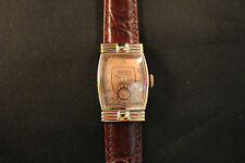 1941 Very Rare Gruen Epoch Rose Gold Pink Gold Art Deco Men's Vintage Watch