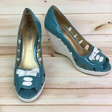 Seychelles Anthropologie Womens 9 Patent Leather Wedge Sandals Peep Toe Teal