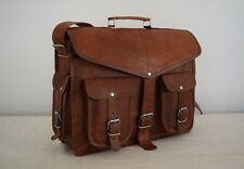 "Vintage Leather Messenger Backpack Bag 13"" MacBook Briefcase Satchel Rucksack"
