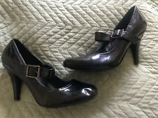 Womens Ladies F&F Black Patent Mary Jane Strappy Buckle High Heels Shoes Size 5