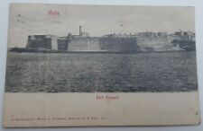 OLD STAMPED POSTCARD OF FORT RICASOLI, VALLETTA HARBOUR, MALTA - EDWARDIAN 1919