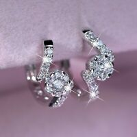 18k white gold gf made with SWAROVSKI crystal flower stud huggie earrings SMALL