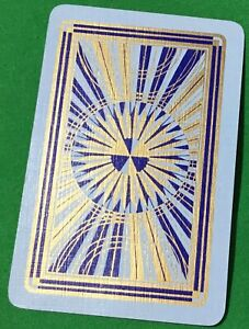 Playing Cards 1 Single Card Old Vintage * CIRCULAR GOLD BURST * Art Design B