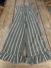 Beautiful ASOS Grey & White Stripe Linen Blend JUMPSUIT, Lovely Detail, Size 6