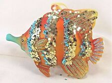 Fish Ornament Colorful Glass w/ Sparkles Holiday or Home Decor C