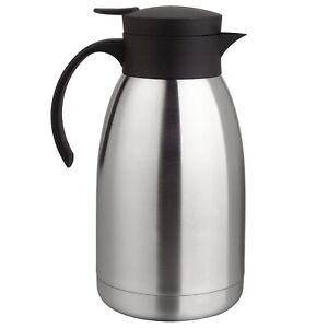 Thermoskanne Edelstahl 2 Liter Isolierkanne Kaffee Tee Kanne Einhandautomatik