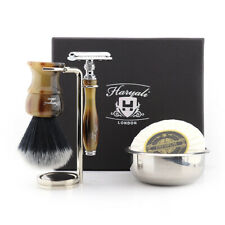 "Men's Safety Razor & ""Shaving Products"" Synthetic Black with Silver tip Badger"