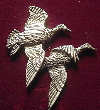 Pewter Pair Duck Hunting Shooting Brooch Pin  Signed