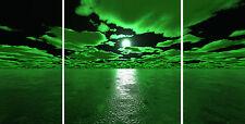 "Triple Set 20"" X 40""+ Lime Green Sea & Black Canvas Pictures Wall Art Prints"