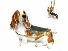 Basset Hound Dog Bejeweled Trinket Box