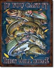 Vintage Replica Tin Metal Sign Fish Rainbow Trout Crappie Bass lure mancave 1906