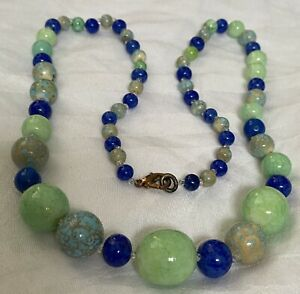 Swiss Lapis, Peking Jade, Faux Turquoise Necklace