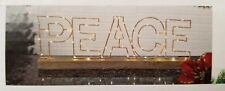 Gerson Gold Color Metal Copper W/Wood Base Christmas LED Lighted Peace Sign NEW