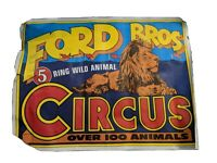 Vintage original Ford Bros Circus Poster. Signed 1983 Autographed  by the Owners