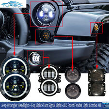 """7"""" LED Headlight+Fog Lights +Turn Signal+ Fender Lamp Kit 07-17 Jeep Wrangler JK"""