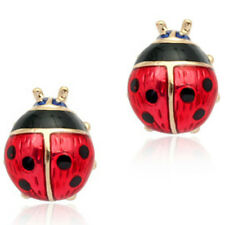 Rose gold finish red ladybird earrings quality jewellery christmas gift box kids