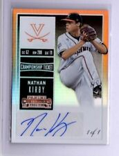 2015 Panini Contenders AUTO RC Nathan Kirby REAL #1/1 CHAMP TICKET UVA Brewers