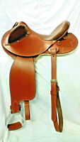 "Two Flapped Saddle 17"" Leather color New brown on drum dye finish"