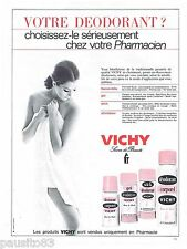 PUBLICITE ADVERTISING 115  1967  VICHY  déodorant stick & atomiseur