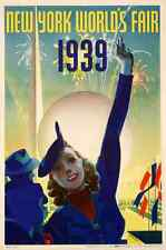 Metal Sign New York Worlds Fair Stahle Ny 1939 Woman A4 12x8 Aluminium