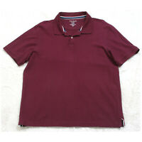 Club Room Burgundy Red Solid Polo Shirt Short Sleeve Men's Top Large Pima Cotton