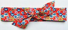RED FLORAL COTTON KNOTTED HEADWRAP HAIR WRAP SELF TIE HEADBAND LADIES