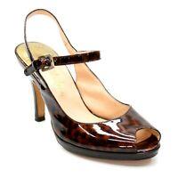 Cole Haan Ladies 6 B Nikeair Brown Patent Leather Peep Toe Slingback Ankle Strap