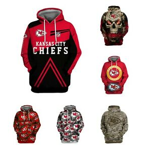 Kansas City Chiefs Hoodie Football Pullover Sweatshirt Hooded Jacket Fans Gift