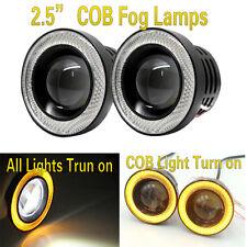 "2.5""Inch Universal LED Fog Light Bumper Driving Lamp Yellow Angel Eyes Halo Ring"
