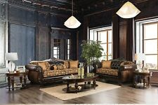 Brown Traditional Design Loose Back Pillows Wooden Trim Frames 2piece Sofa Set