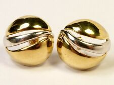 STUNNING LARGE GENUINE 9ct YELLOW & GOLD EARRINGS JEWELLERY 5.1g