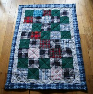 """Baby Quilt 100% Flannel Top & Bottom, Handmade Patchwork Quilted,  41 1/2"""" x 29"""""""
