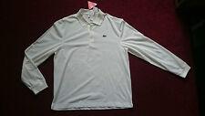 Homme à Manches Longues Polo Shirt-Blanc-Taille 6 XL neuf avec étiquettes