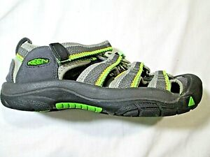 KEEN Waterproof Comfort Sport Sandals Gray/Green Kids Youth Size 2 Hiking LKN