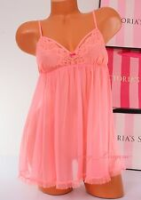VICTORIA'S SECRET Lingerie VS Fly-away Tulle Lace Babydoll Unlined L Large Peach