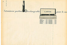 PUBLICITE ADVERTISING 124  1961  LANVIN   atomiseur parfum rechargeable pour sac