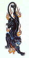 BLACK PANTHER FLAMES BIKER TEMPORARY TATTOO ARM or LEG 145mm X 70mm  AB0037