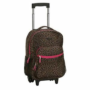 Rockland Double Handle Rolling Backpack Pink Leopard 17-Inch