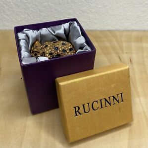 RUCINNI Jeweled Trinket Hinged Box Leopard