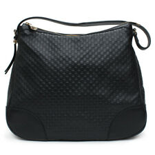 Gucci Bree Guccissima Leather Hobo Bag Black Micro GG Italy Handbag Large New
